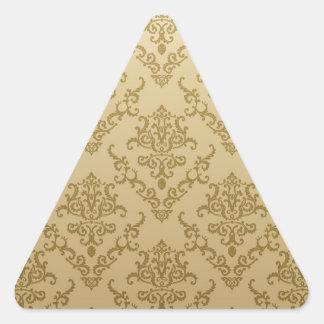 Vintage golden beige elegant victorian pattern triangle stickers