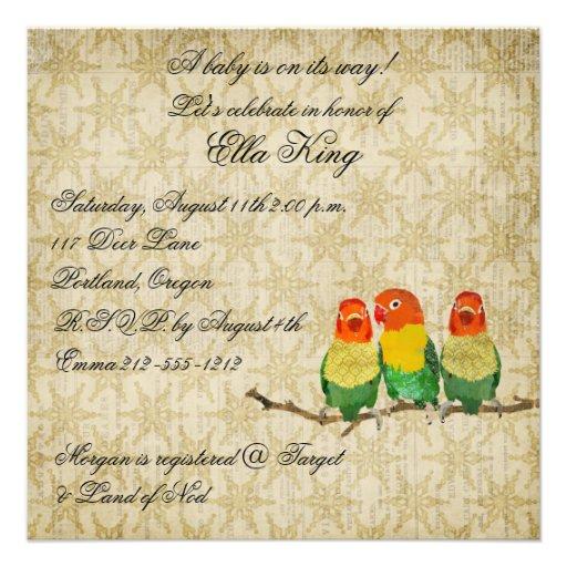 Vintage Golden Birds Baby Invitation