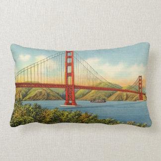 Vintage Golden Gate Bridge San Francisco Travel Lumbar Cushion