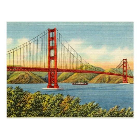 Vintage Golden Gate Bridge San Francisco Travel Postcard