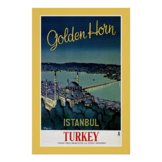 Vintage Golden Horn Istanbul Turkey travel Poster