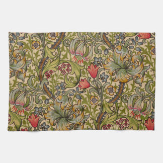 Vintage Golden Lilly Floral Design William Morris Kitchen Towel