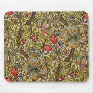 Vintage Golden Lilly Floral Design William Morris Mouse Mat