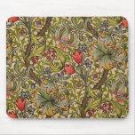 Vintage Golden Lilly Floral Design William Morris Mouse Pads