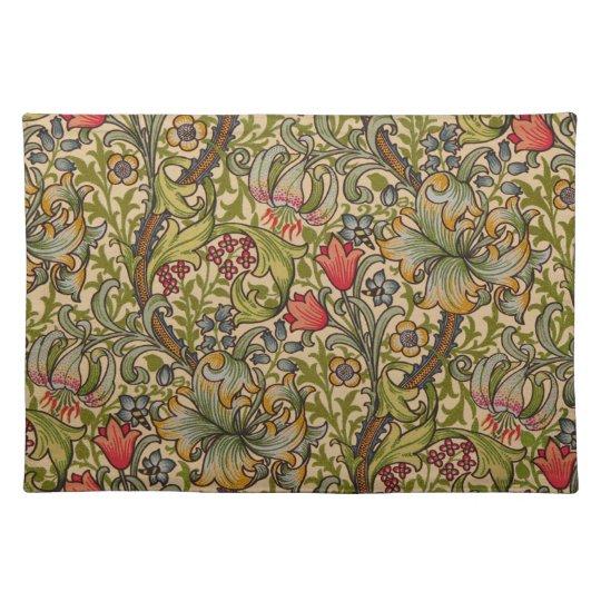 Vintage Golden Lilly Floral Design William Morris Placemat