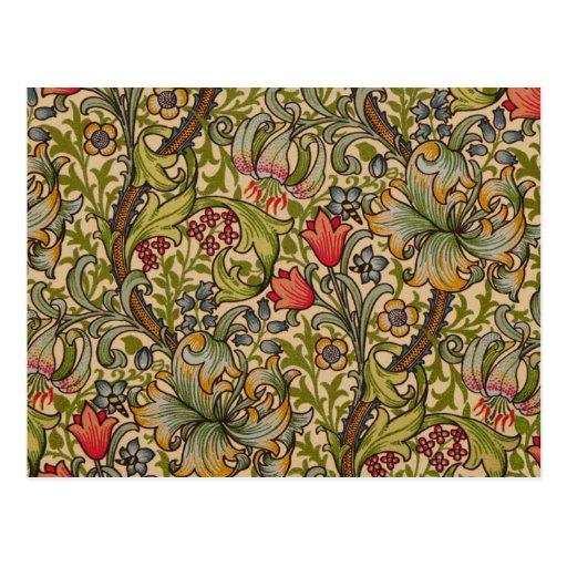 Vintage Golden Lilly Floral Design William Morris Post Card
