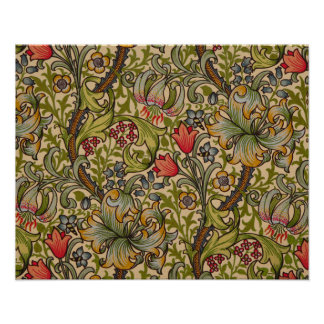 Vintage Golden Lilly Floral Design William Morris Poster