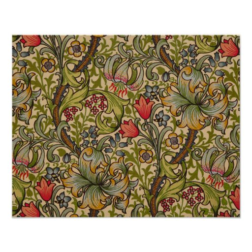 Vintage Golden Lilly Floral Design William Morris Poster