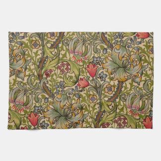 Vintage Golden Lilly Floral Design William Morris Tea Towel
