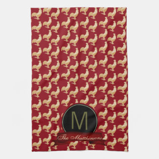Vintage Golden Rooster Pattern Towels