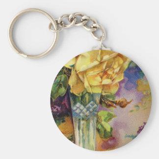 Vintage Golden Rose Key Chains