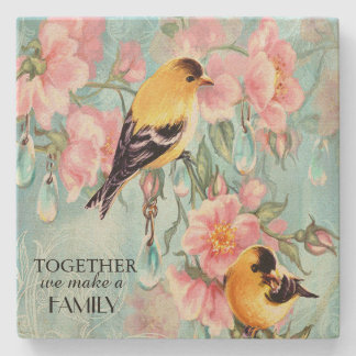 Vintage Golden Sparrows Sandstone Coaster