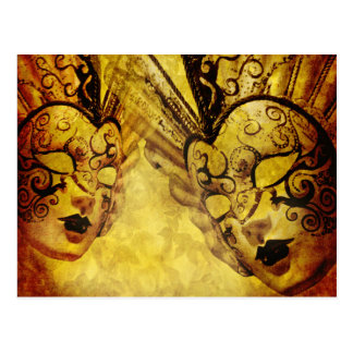 Vintage golden Venetian masks Postcard