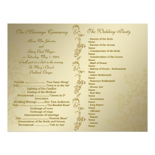 vintage golden wedding programs flyer