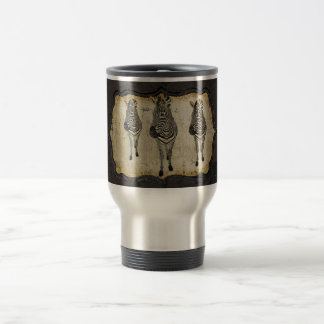 Vintage Golden White Zebras Travel Mug