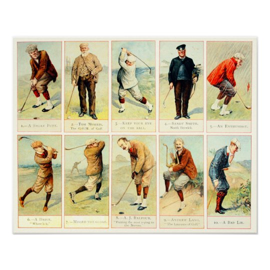 Vintage Golf Cigarette Cards - Archival Print