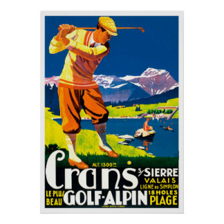 Vintage Golf in Switzerland Poster