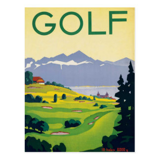 Vintage Golf Lausanne City Lake Switzerland Postcard