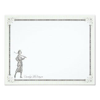 Vintage Golf Personalized Flat Note Cards - Woman 11 Cm X 14 Cm Invitation Card