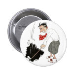 Vintage Golf Sports Humour, Funny Silly Golfer 6 Cm Round Badge