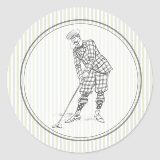Vintage Golf Sticker - Gentleman Golfer