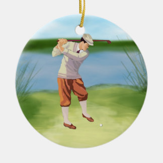 Vintage Golfer by the Riverbank Christmas Ornament