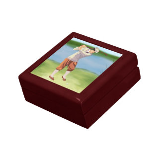 Vintage Golfer by the Riverbank Small Square Gift Box