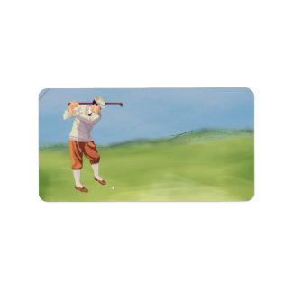 Vintage Golfer by the Riverbank Label