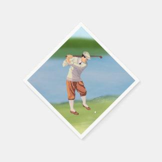 Vintage Golfer by the Riverbank Paper Napkins