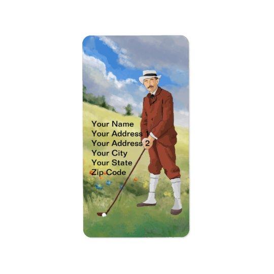 Vintage golfer in the rough address label