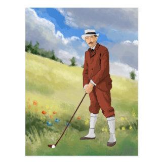 Vintage golfer in the rough postcard