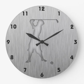 Vintage Golfer; Metal-look Clock