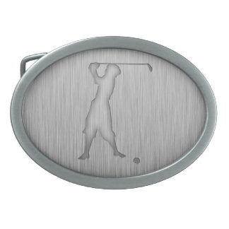 Vintage Golfer; Metal-look Oval Belt Buckles