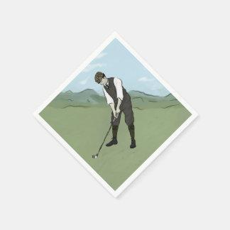 Vintage Golfer V1 Art Disposable Serviettes