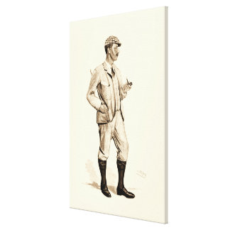 Vintage Golfer with Tobacco Pipe and Boots Canvas Print