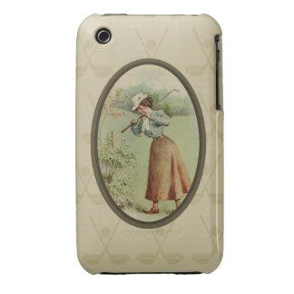 Vintage Golfing Lady Art iPhone 3 Case-Mate Cases