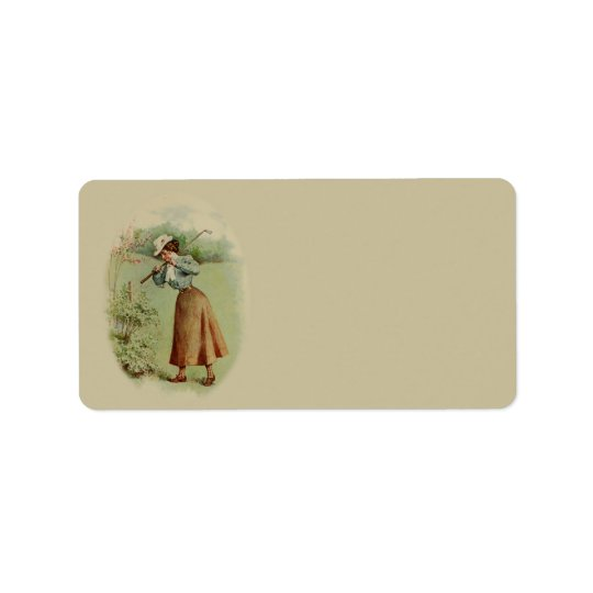 Vintage Golfing Lady Art Label