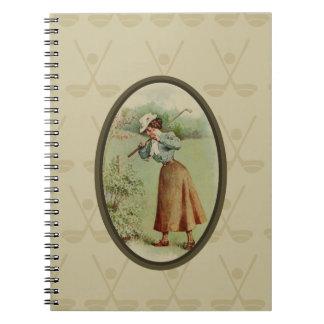 Vintage Golfing Lady Art Notebooks