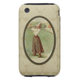 Vintage Golfing Lady Art three iPhone 3 Tough Covers