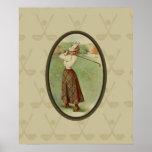 Vintage Golfing Lady Art (three) Poster
