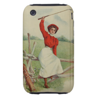 Vintage Golfing Lady Art two iPhone 3 Tough Covers