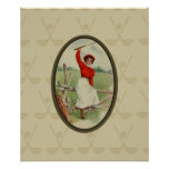 Vintage Golfing Lady Art (two) Poster