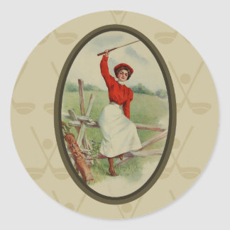 Vintage Golfing Lady Art (two) Round Sticker