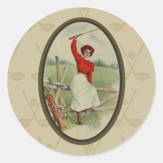 Vintage Golfing Lady Art (two) Round Sticker