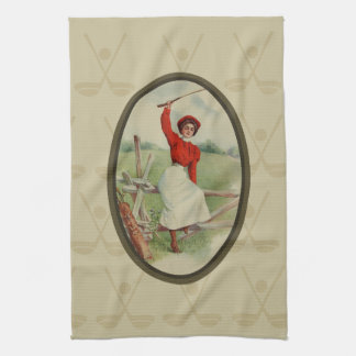 Vintage Golfing Lady Art (two) Tea Towel