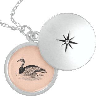 Vintage Goose Illustration -1800's Geese Template Locket Necklace