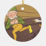 Vintage Goose that Laid the Golden Egg Aesop Fable Christmas Ornaments