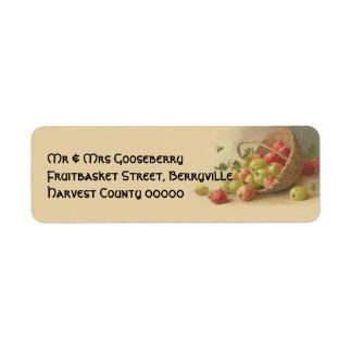 Vintage gooseberries return address label