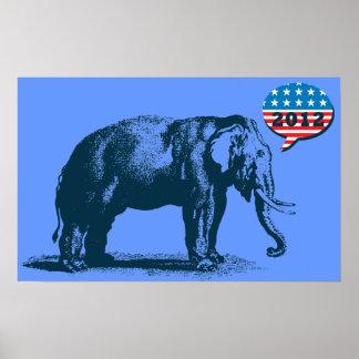 Vintage GOP Republican Elephant 2012 Poster