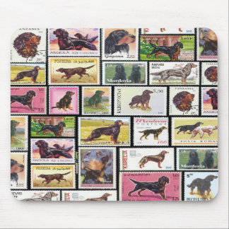 Vintage Gordon Setter Stamps of the World Mousepad